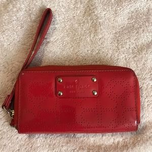 Kate Spade Red Patent Perforated Wristlet Wallet